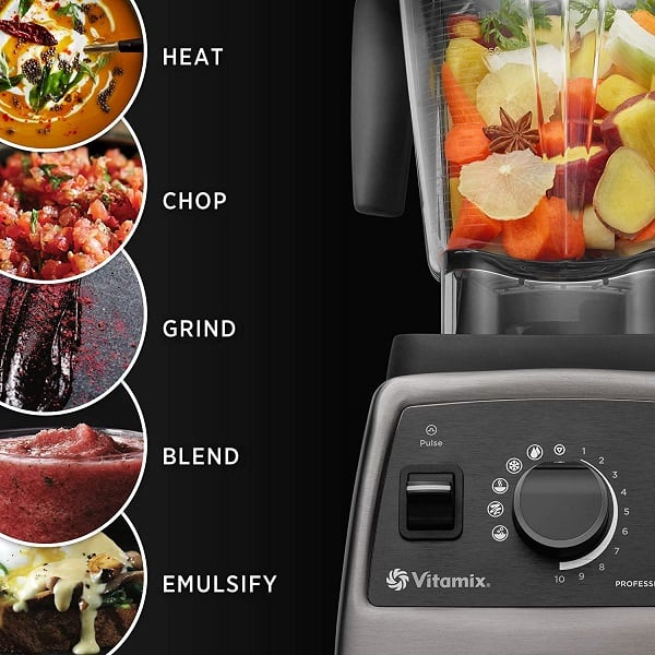 Vitamix 750 has 5 pre-programmed settings and can be used to blend frozen desserts, smoothies, hot soup, purees, and self-cleans