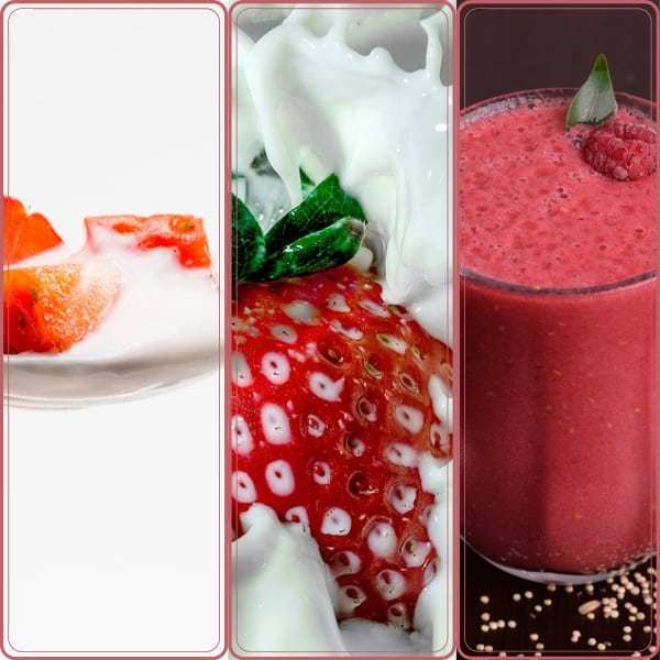 Ingredients of a strawberry smoothie in a picture collage