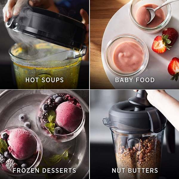 Collage images of hot soup, baby food, desserts, nut butters using Vitamix 5200 blender
