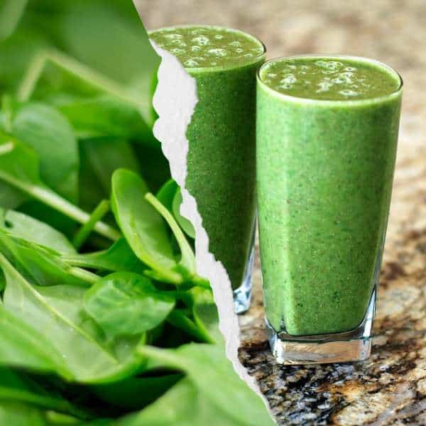 Glasses of spinach smoothies