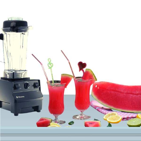 Vitamix blender beside newly made smoothie