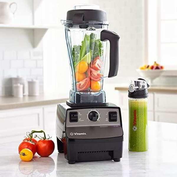 Vitamix with vegetables inside the jar
