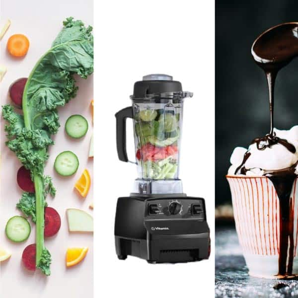A Vitamix 5200 Blender between fruits, vegetables and sauces for smoothies