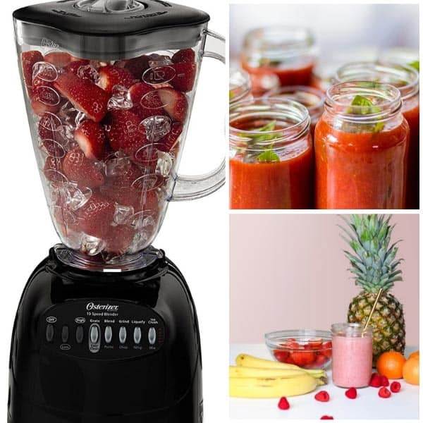 An Oster 10 Speed Blender beside a sauce and smoothies