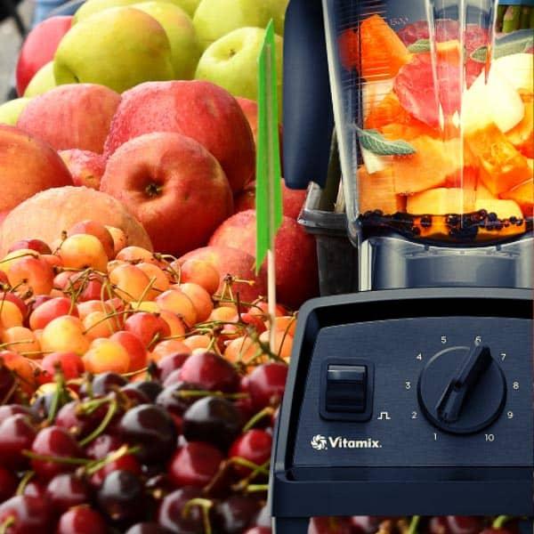 Fruits ready for blending using the Vitamix E320 blender