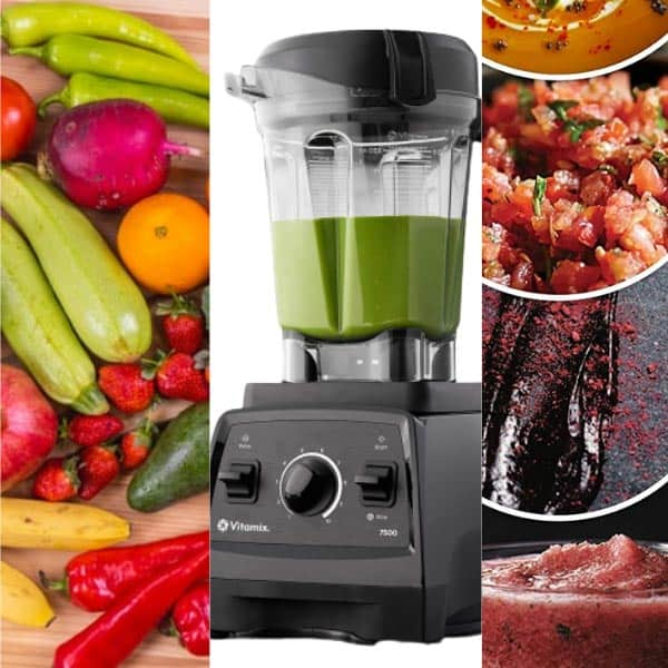 Vitamix 7500 Blender between fruits, vegetables and blended juices and smoothies